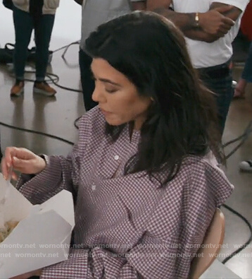 Kourtney's red checked blouse on Keeping Up with the Kardashians
