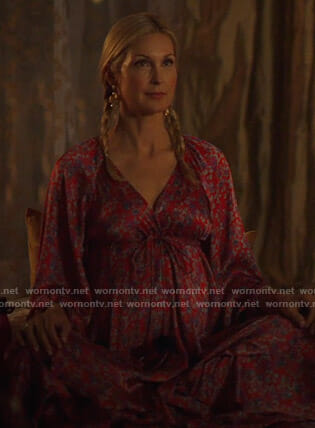 Melissa's red floral wrap dress on Dynasty