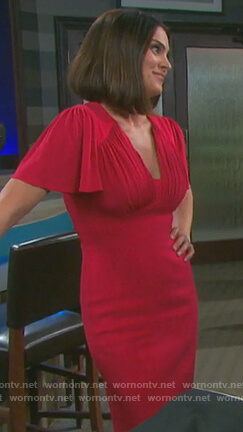 Chloe's red gathered dress on Days of Our Lives
