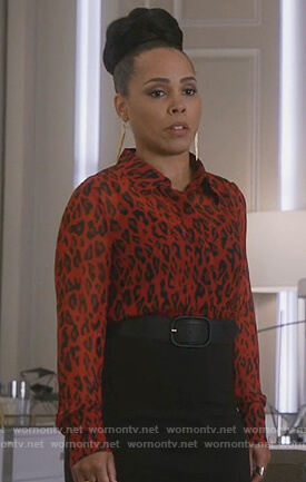 Tegan's red leopard print blouse on How to Get Away with Murder