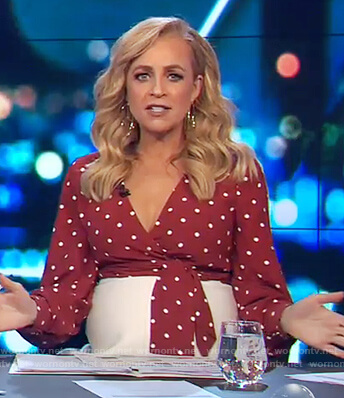 Carrie's red polka dot wrap top on The Project