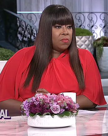 Loni's red twist neck dress on The Real
