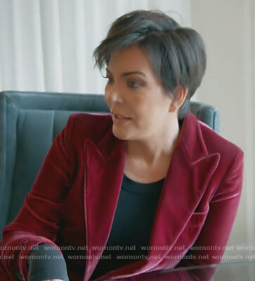 Kris's red velvet blazer on Keeping Up with the Kardashians