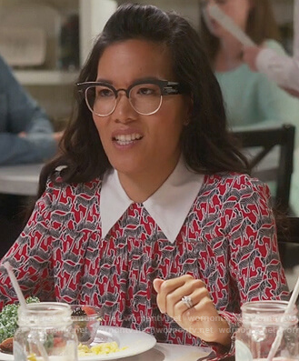 Doris's red zebra print blouse with contrast collar on American Housewife