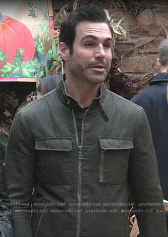 Rey's green utility jacket on The Young and the Restless