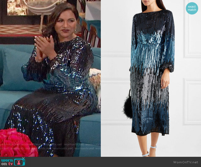 Rixo London Coco Dress worn by Mindy Kaling on Busy Tonight