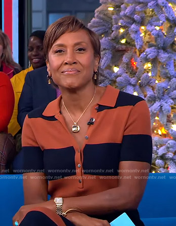 Robin's orange and navy striped polo dress on Good Morning America