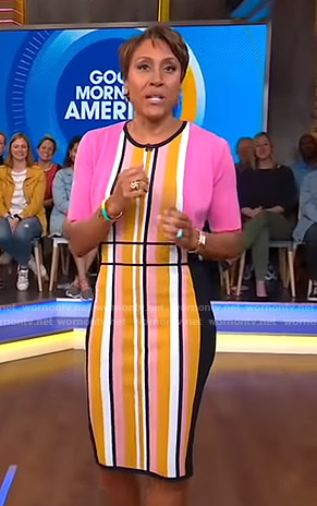 Robin's orange striped sleeveless dress on Good Morning America