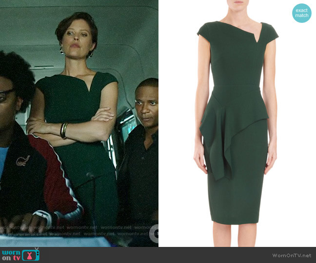 Roland Mouret Asymmetric-Neck Cap-Sleeve Peplum worn by Lyla Michaels (Audrey Marie Anderson) on Arrow