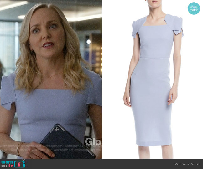 Roland Mouret Square-Neck Cap-Sleeve Sheath Dress worn by Geneva Carr on Bull