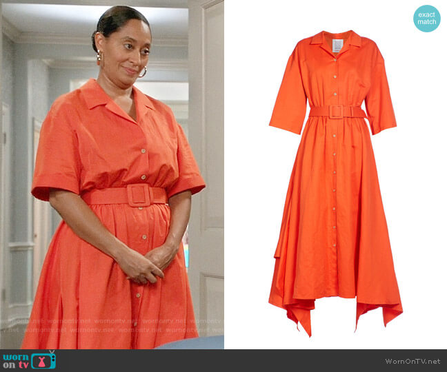 Rosie Assoulin Belted Shirtdress worn by Rainbow Johnson (Tracee Ellis Ross) on Blackish