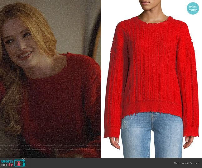 Kirby's red textured sweater on Dynasty