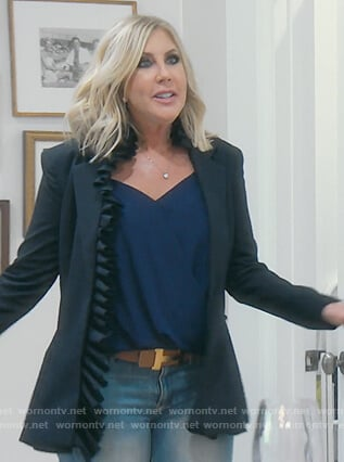 Vicki's navy ruffled blazer on The Real Housewives of Orange County