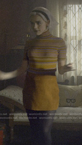 Sabrina's striped turtleneck top on Chilling Adventures of Sabrina
