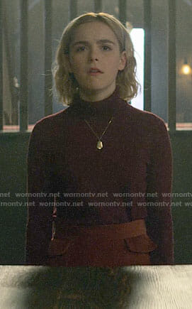 Sabrina's burgundy turtleneck and brown skirt on Chilling Adventures of Sabrina