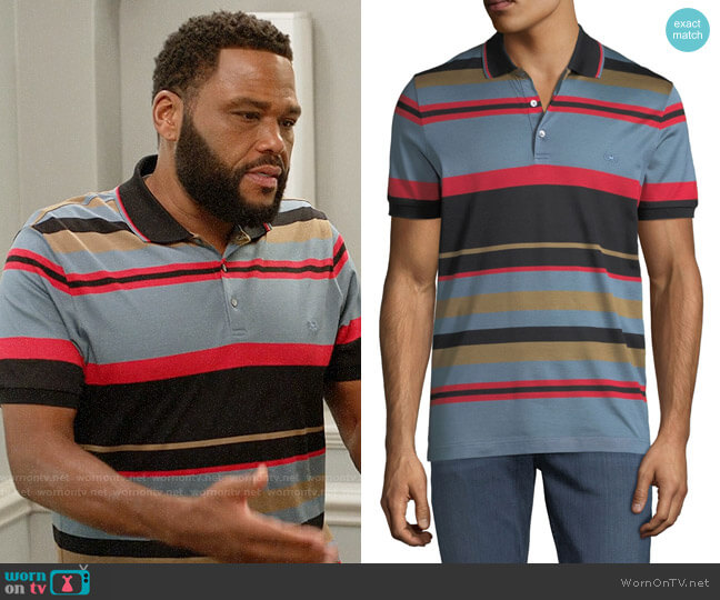 Salvatore Ferragamo Cotton Striped Polo Shirt worn by Andre Johnson (Anthony Anderson) on Blackish