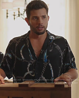 Sam's black belt print shirt on Dynasty