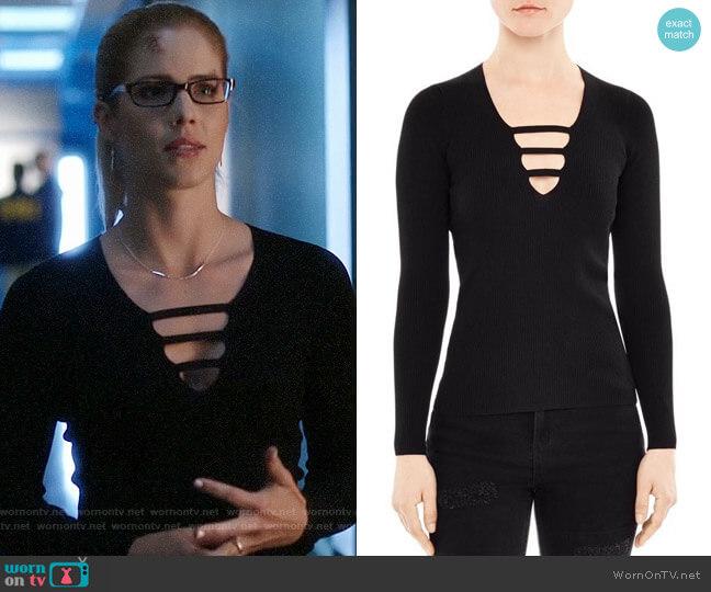 Sandro Adam Sweater worn by Emily Bett Rickards on Arrow
