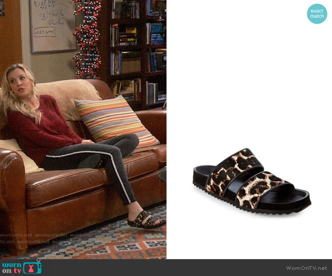 Sandro Andy Leopard Slide Sandals worn by Penny Hofstadter (Kaley Cuoco) on The Big Bang Theory