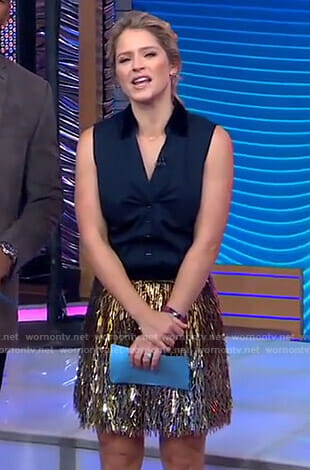 Sara's metallic fringe skirt on GMA Day