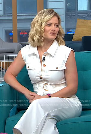 Sara's white belted jumpsuit on GMA Day