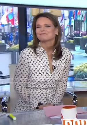 Savannah's white cherry print shirtdress on Today