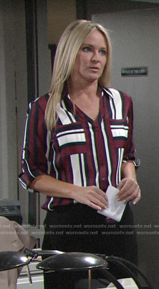 Sharon's burgundy striped shirt on The Young and the Restless