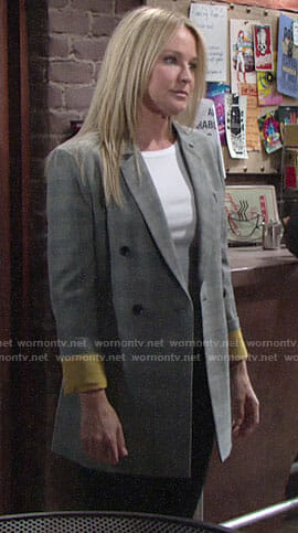 Sharon's plaid blazer with yellow cuffs on The Young and the Restless