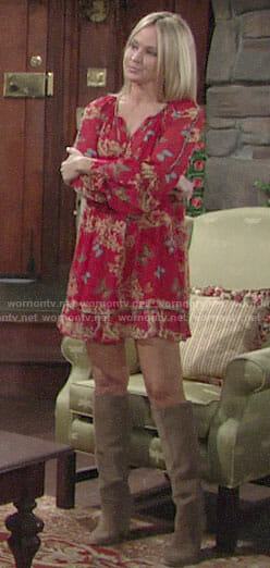 Sharon's red butterfly print dress on The Young and the Restless