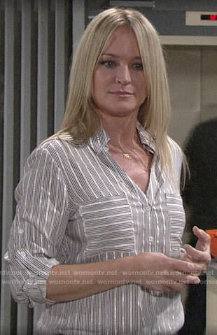Sharon's striped button down shirt on The Young and the Restless
