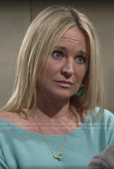 Sharon's gold and turquoise round earrings on The Young and the Restless