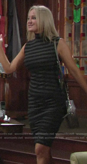 Sharon's grey striped dress on The Young and the Restless