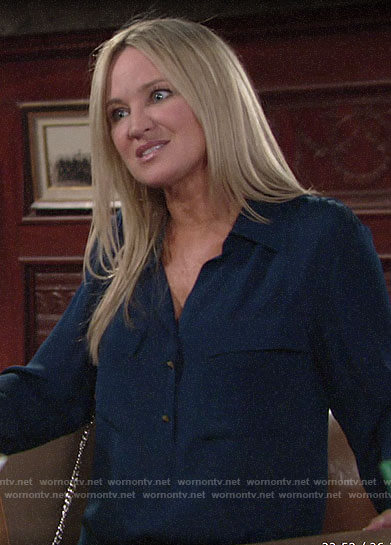 Sharon's navy flap pocket top on The Young and the Restless