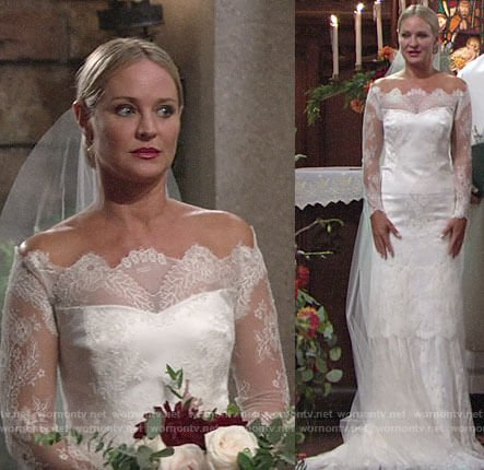 Sharon's wedding dress on The Young and the Restless