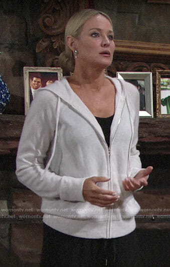 Sharon's white cashmere hoodie on The Young and the Restless