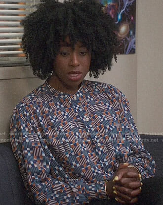 Simone's geometric print blouse on The Good Place