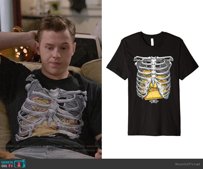 Skeleton Rib Cage T Shirt worn by Luke Dunphy (Nolan Gould) on Modern Family