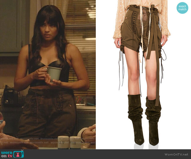 Slouchy Gabardine Lace Up Shorts by Saint Laurent worn by Simone Davis (Brittany O'Grady) on Star
