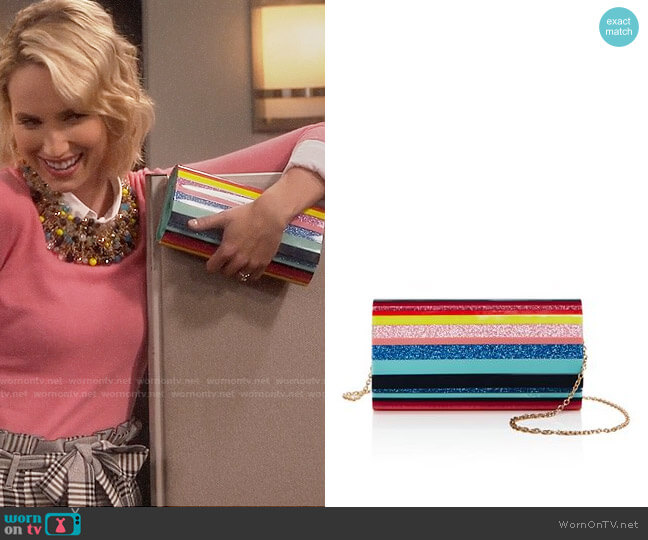 Sondra Roberts Resin Flap Clutch worn by Molly McCook on Last Man Standing