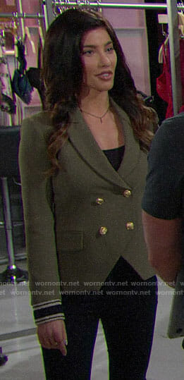Steffy's green blazer with striped cuffs on The Bold and the Beautiful