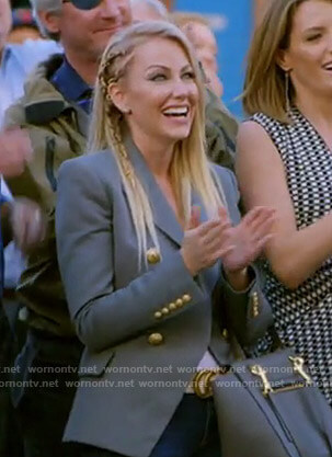 Stephanie's grey blazer with gold buttons on The Real Housewives of Dallas