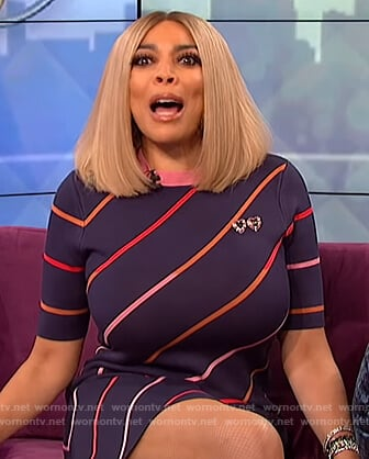 Wendy's navy striped mini dress on The Wendy Williams Show