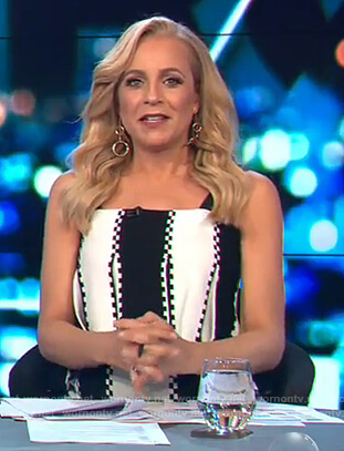 Carrie's black and white striped sleeveless dress on The Project