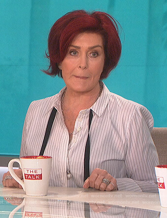 Sharon's striped tie neck blouse on The Talk