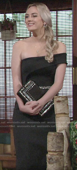 Summer's black bridesmaid dress on The Young and the Restless