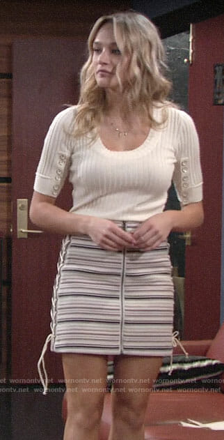 Summer's ribbed top and striped skirt with lace-up sides on The Young and the Restless