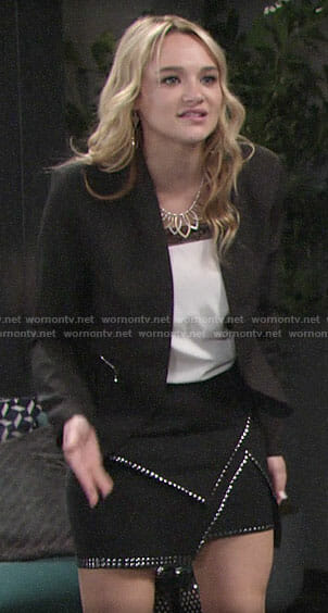 Summer's white lace-trim top and studded skirt on The Young and the Restless