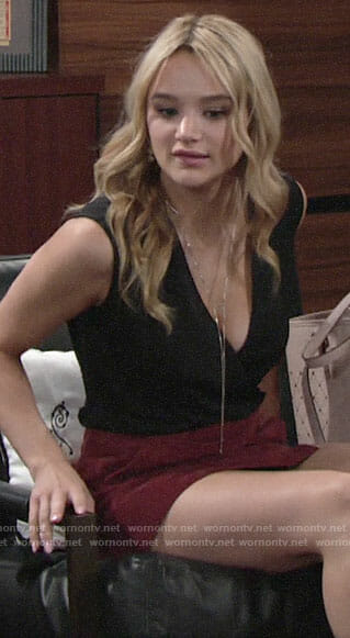 Summer's black wrap top and red suede mini skirt on The Young and the Restless