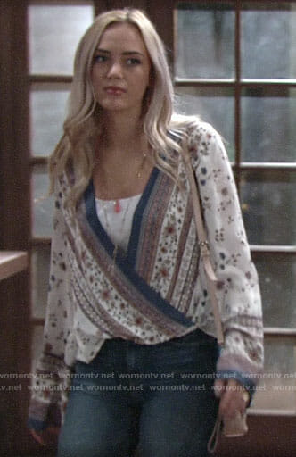 Summer's floral wrap blouse on The Young and the Restless