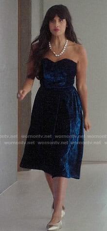 Tahani's blue velvet strapless dress on The Good Place